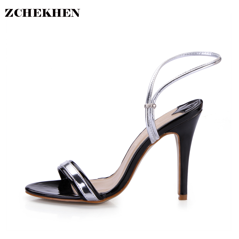 Luxury Gladiator Sandals Women 10CM High Heels silver strap Shoes Woman Summer Sandals Elegant party Wedding Shoes 5186-8a gold silver pink gladiator sandals summer high heels platform shoes woman buckle strap pumps casual women shoes plus size 33 43
