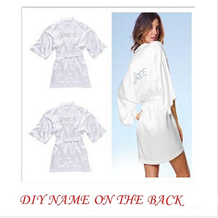 6 Colors Silk Wedding Robes Short Satin Silk Bride Bridesmaid Robes ...