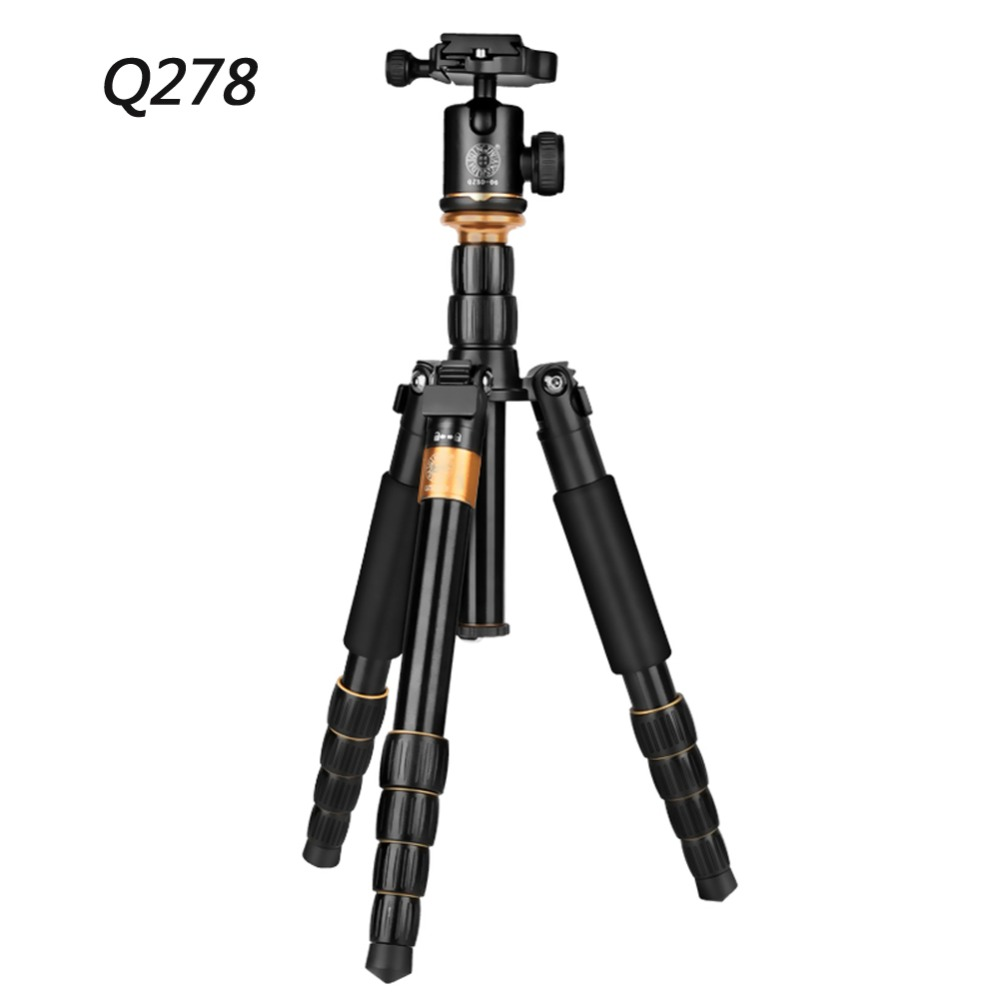 QZSD Q278 Professional Lightweight Tripod Monopod Ball Head Portable Detachable Changeable Traveling for DSLR Camera Camcorder qzsd q 999 professional portable folded tripod monopod with detachable ball head