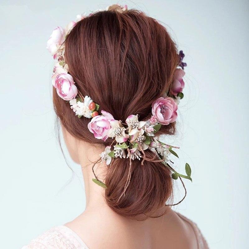Newly Fashion Women Garland Flower Vine Bride Hairband Ladies Girls Headband For Wedding Photography Hair Accessories Hot Sal