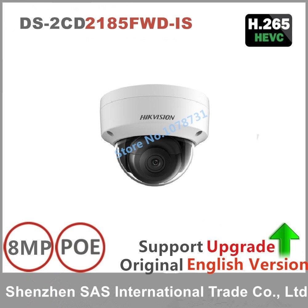 Hikvision Original anglais caméra de Surveillance DS-2CD2185FWD-IS 8MP dôme caméra IP de vidéosurveillance H.265 IP67 Audio POE stockage à bord