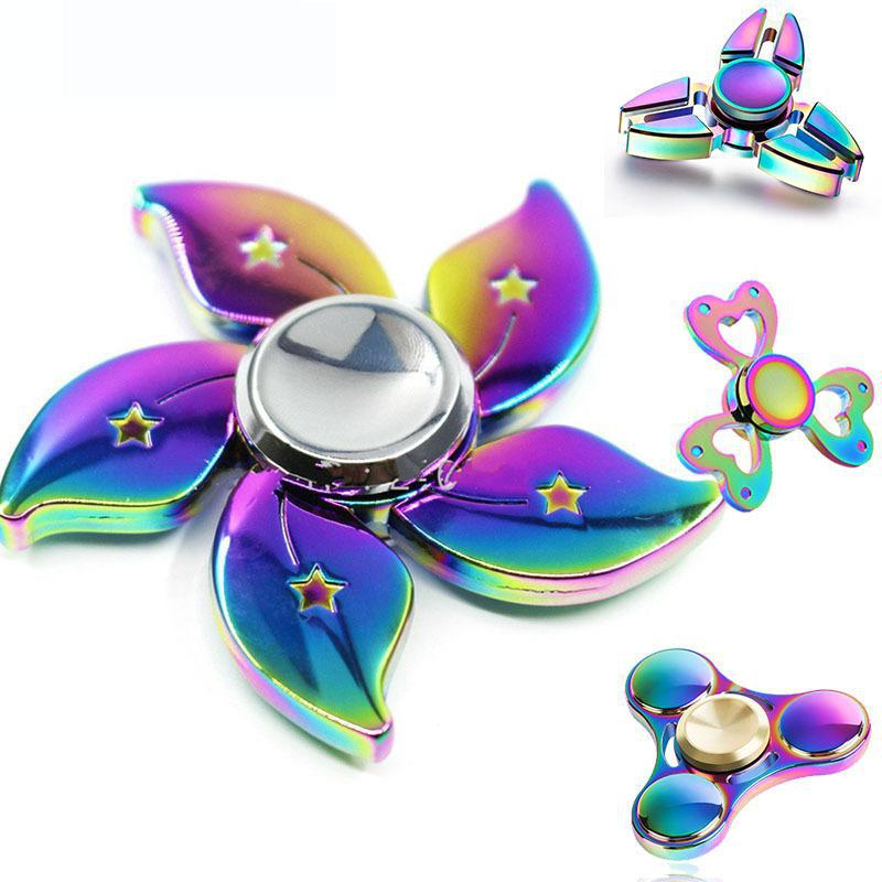 New Colorful Rainbow Fidget Spinner Metal Finger Spinners Gyro Alloy Finger Hand Spiner