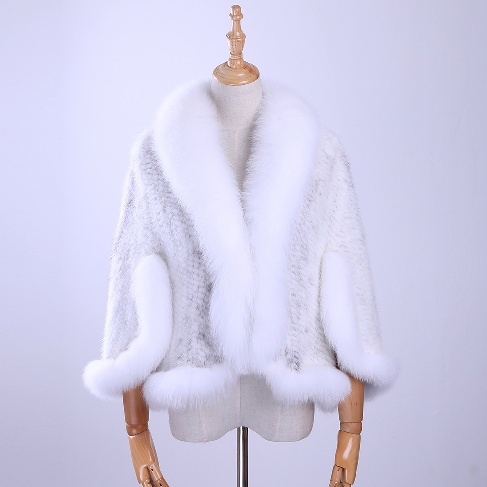 Free Shipping New Genuine Knitted Mink Fur Shawl Wrap Cape with Fox fur collar Triming women Lady mink fur coat Jacket Stole
