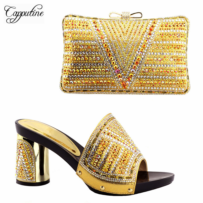 Capputine 2018 New Italian Woman Gold Color Shoes And Purse Set Nigerian Party Shoes and Bag Sets For Wedding Size 38-42 capputine new arrival fashion shoes and bag set high quality italian style woman high heels shoes and bags set for wedding party