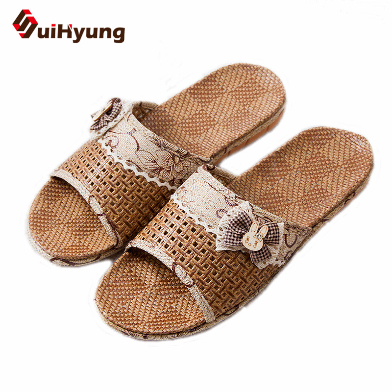 Suihyung Women Summer Linen Slippers Non-slip EVA Sole Beach Flip Flops Flat Sandals Lace Bowknot Female Home Bathroom Slippers coolsa women s summer flat non slip linen slippers indoor breathable flip flops women s brand stripe flax slippers women slides
