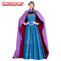 Snow Queen Princess Anna Cosplay Costume For Adult Women Blue Party Dress With Purple Cloak Drop