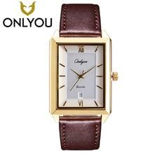 Onlyou Lover Часы модные квадратные золотые часы Для мужчин Бизнес кварцевые часы Для женщин Роскошные наручные часы для двоих Подарок