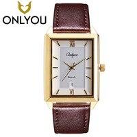 ONLYOU Lover Watches Fashion Square Gold Watch Men Business Quartz Clock Women Luxury Wristwatch For Couple
