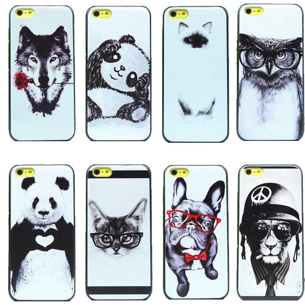 Sketsa Hitam Panda Kucing Anjing Serigala Hewan Hard Cover Kembali
