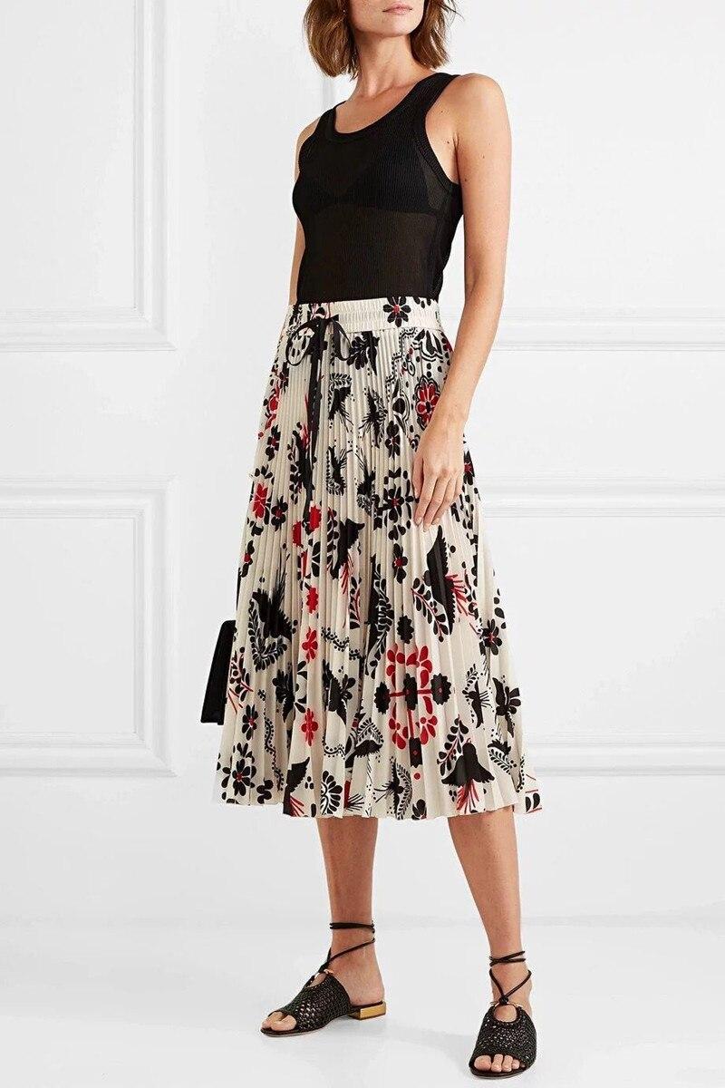 2019 New Women Pleated Skirt Flower Print Elastic High Waist Midi Skirt