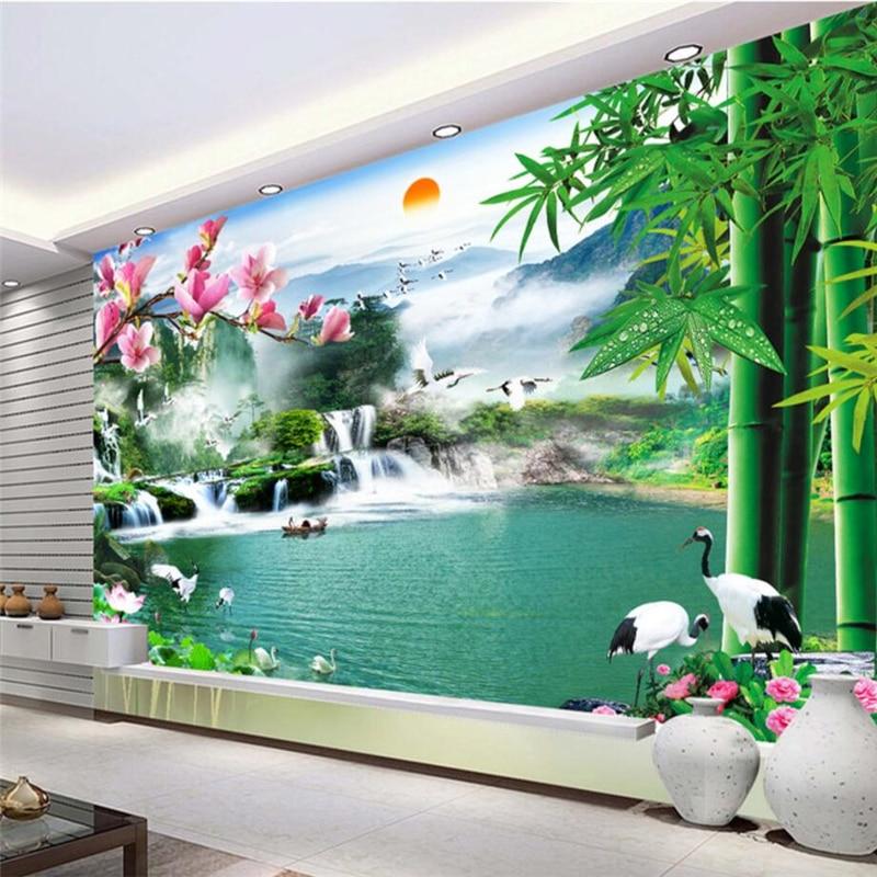 beibehang Custom Wallpaper Waterfall Scenery Falls Landscape Paintings Mural Paintings 3D Background Walls Обои
