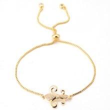 Hot Loop Fleur De Lis Flower Micro Pave CZ Pendant Gold Chain Bracelet Femme Fleur De Lis Flower Charm Friendship Bracelets  цена в Москве и Питере