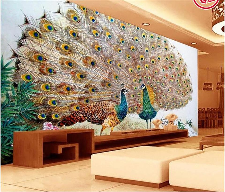 3d Photo Wallpaper Custom Livingroom Mural Two Peacock Open Screen Picture Sofa TV Background Wall Sticker Wallpaper For Wall 3d