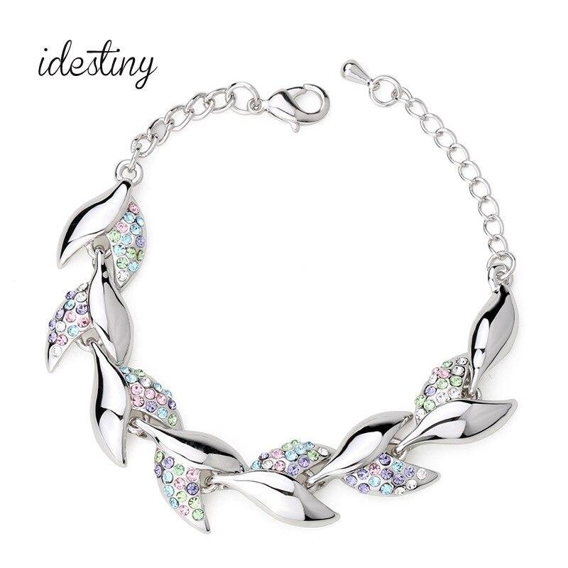 women jewerly bracelet made with Austrian crystal fashion leaf clover shape design bracelets & bangles for wedding party