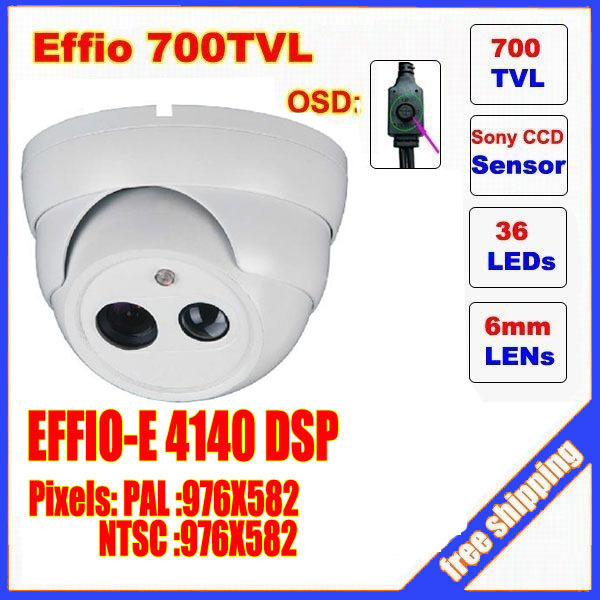Security 1/3 Sony Effio CCD 700TVL OSD menu Single Lamp Array  LED indoor dome camera IR 30m CCTV camera C220H