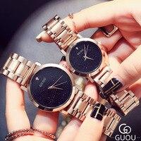 AAA GUOU miłośników Zegarków Kwarcowych Zegarków Marki Kobiety Mężczyźni Ubierają Zegarki Pełna Stal Zegarki Moda Casual Zegarki Różowe Złoto
