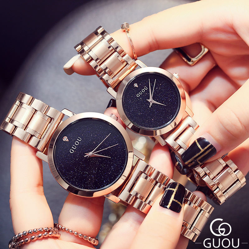 AAA Brand GUOU Quartz Watch Lovers Watches Women Men Dress Watches Full Steel Wristwatches Fashion Casual Watches Rose Gold