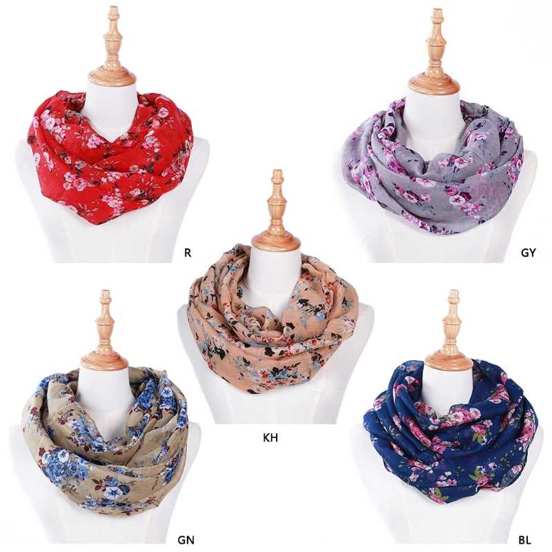 New Fashion Wanita Loop Syal Lingkaran Floral Printed Cowl Neck Wrap Shawl Vintage 180x70 cm