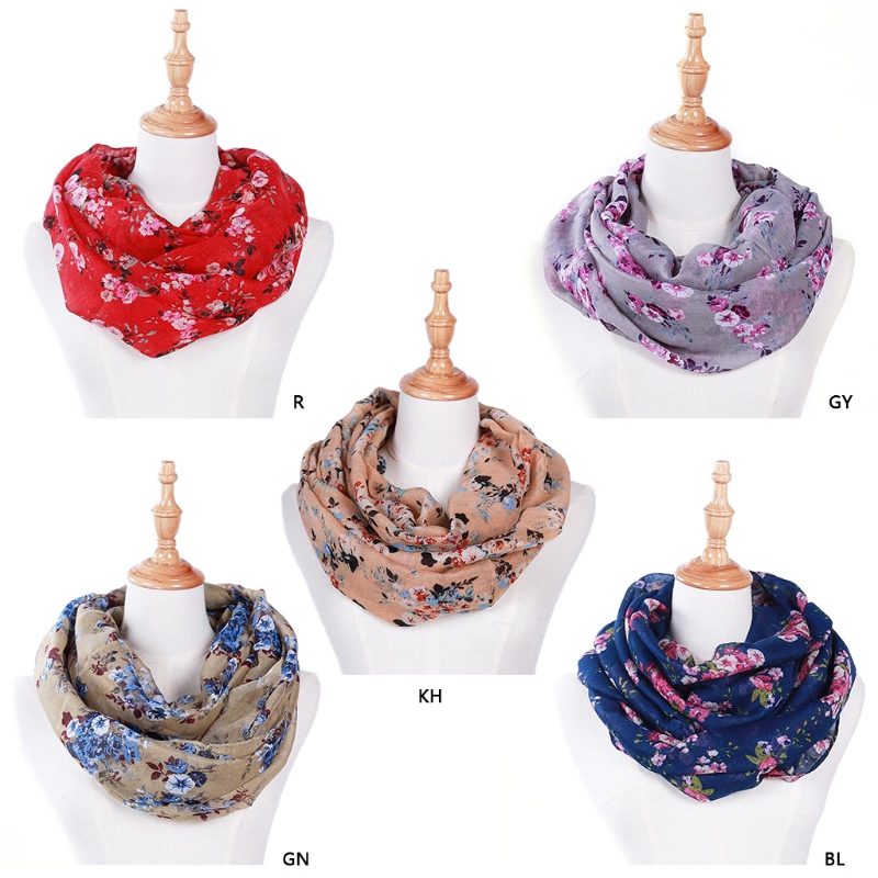 New Fashion Women Loop Scarves Circle Floral Printed Cowl Neck Wrap Shawl Vintage 180x70cm