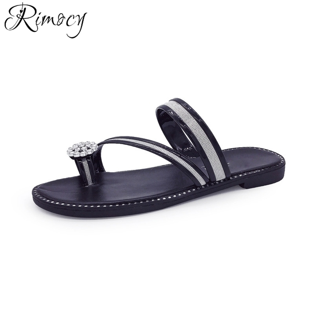 b4515f183 Rimocy rhinestone floral women summer beach slippers fashion ladies gold  silver glitter flats sandals ladies casual flip flops
