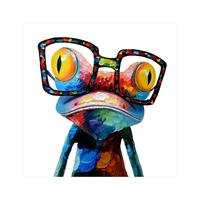 Abstract Colors Frog Painting On Canvas Art Pictures Painting For Home Kids Room Decoration Stretched And