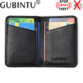 Genuine Leather Mens Card Wallet RFID Protection Fashion Ultra-thin Small Mini Men Leather Wallet Men's Purse Card Pocket