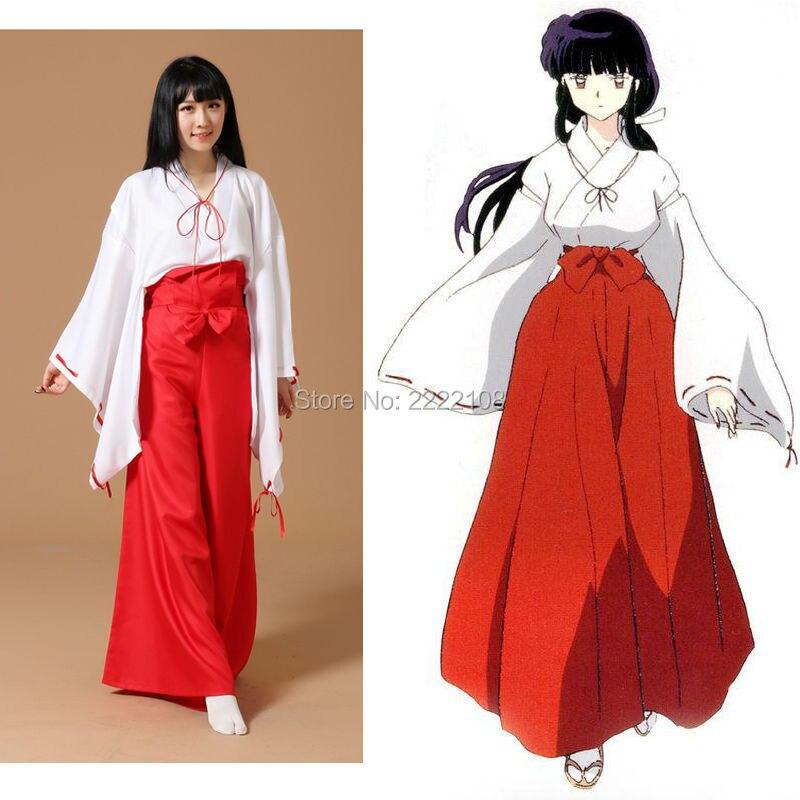 2016 Inuyasha Kikyo Kimono Cosplay Costume Full Set Custom Made Halloween Carnival Anime cosplay costume For Girl Women Clothes