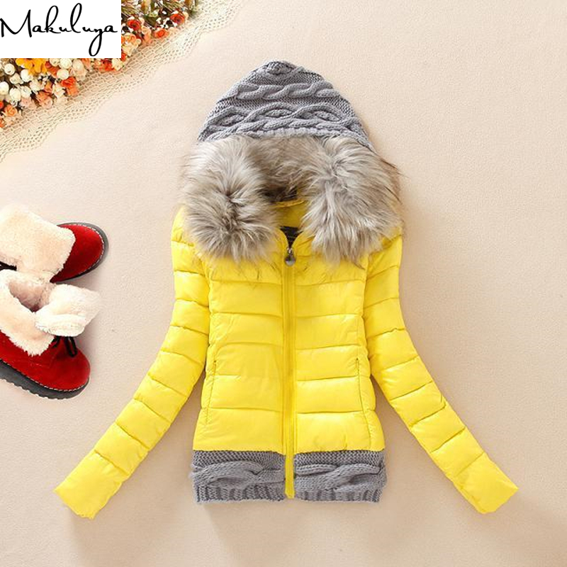 Makuluya 3XL New Arrivals Super Warm Plus Size Women Coats Winter Fur Hat Short Style Slim Waist Patchwork Woolen Coats QW73