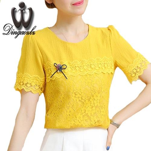 Dingaozlz 2017 verano nuevas mujeres clothing blusas de encaje de moda adelgazan