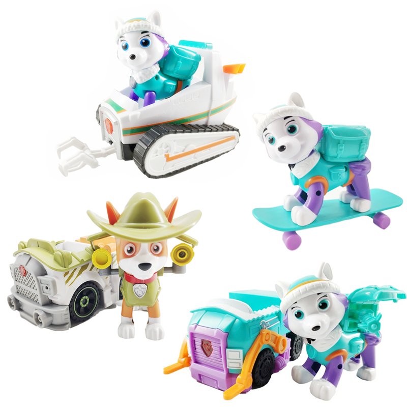 Paw Patrol Dog Everest Tracker Snow Jungle Rescue Cars Pull Back Music Patrol Ski Vehicle Anime Figure Action Model Toys Collect Action Toy Figures Aliexpress