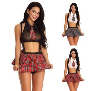 Сексуальный костюм школьницы для ролевых игр, костюмы в клетку, для ночного Хэллоуина, женская сексуальная униформа для ролевых игр, эротич...
