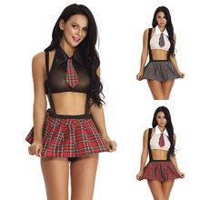 Sexy Schoolgirl Cosplay Role Play Costumes Plaid Halloween Roleplay Women Sex Uniforms Erotic Costume Sexy Racy Lingerie