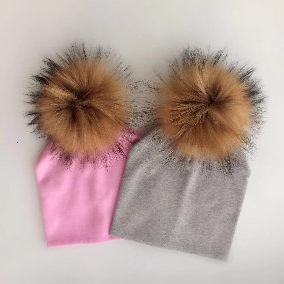0e8f992bb5f winter children s infant toddler hat cap Kids baby boys girl cotton newborn  photography props raccoon faux fur pompom hat beanie