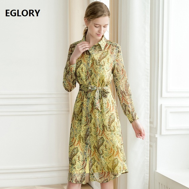 High Quality Long Shirt Dress 2019 Spring Summer Style Women Turn-down Collar Runway Print Long Sleeve Casual Dress Yellow
