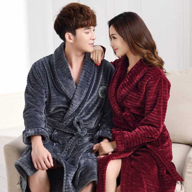 Thick flannel couples bathrobe winter autumn thickening terry women cotton  robe 100% Coral Fleece men chinese kimono M-XXXL 9fe47d894