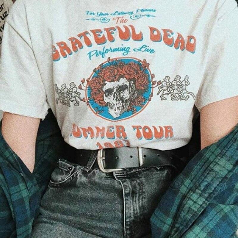 Grateful Dead Summer Tour 1987 T-shirt Women Harajuku Short Sleeve Graphic T Shirts Women's Clothing Vintage Camisetas Mujer