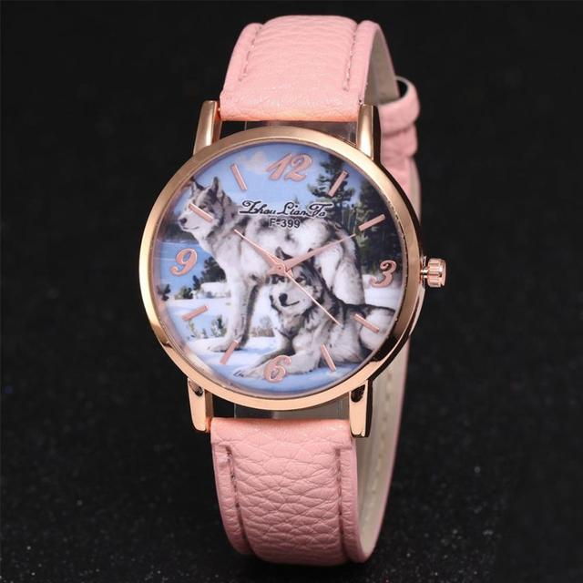 Watch Women Fashionable Wolf Leather Band Belt Ladies Watch Gift Fashion Origina