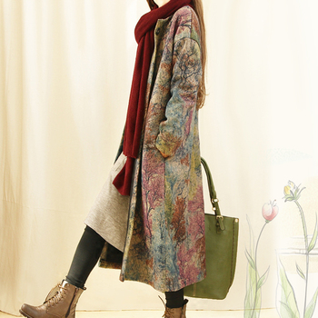 Women Vintage Woolen Print Trench Coat