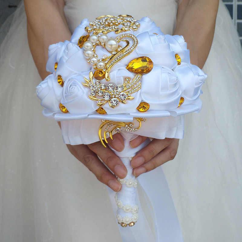 Wifelai-Emas Bros Bridal Tangan Memegang Bunga Karangan Bunga Emas Putih Kristal Murni Sutra Putih Bridesmaid Pernikahan Bouquet W227-1