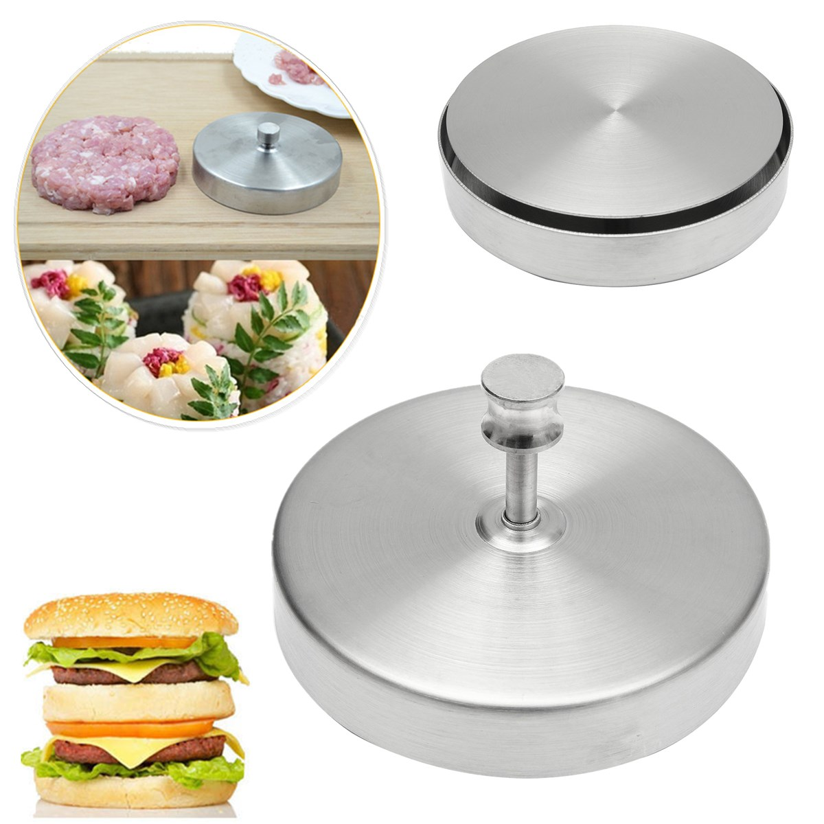 Stainless Steel Hamburger Press Patties Pizza Maker Household Kitchen Meat  Making Cooking Tools Patty Burger Meat