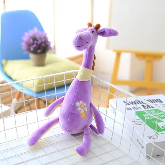 35cm 1PC Cute Plush Giraffe Toys Soft Colorful Animal Deer Doll Kawaii flower Toy for Baby Kids Children Girls Birthday Gift 4 colors pusheen plush cute soft animal toy giraffe plush doll birthday gift toys for children 18cm baby dolls free shipping