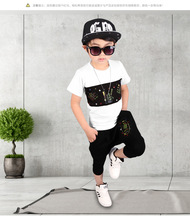 Europe&America Summer season 2017 New type boy summer time go well with Kids's clothes boy Cotton short-sleeved shorts pullovers go well with Four-10Y