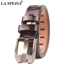 LA SPEZIA Pin Buckle Belt For Men Coffee Real Leather Belt Jeans Women Vintage Brand Genuine Cow Leather Square Double Loop Belt цена и фото