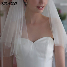 BOAKO Simple Tulle Wedding Veils Two Layer Cut Edge Bridal Accesories Veu de Noiva White Ivory Short Bride Voile Mariage