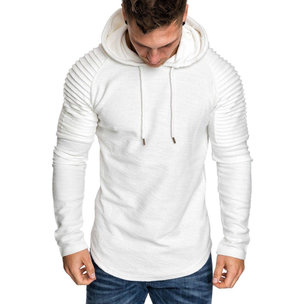 Moomphya Ragan sleeve hooded men t shirt Pleated sleeve t-shirt men Longline curved hem Hip hop slim tshirt streetwear tops 3