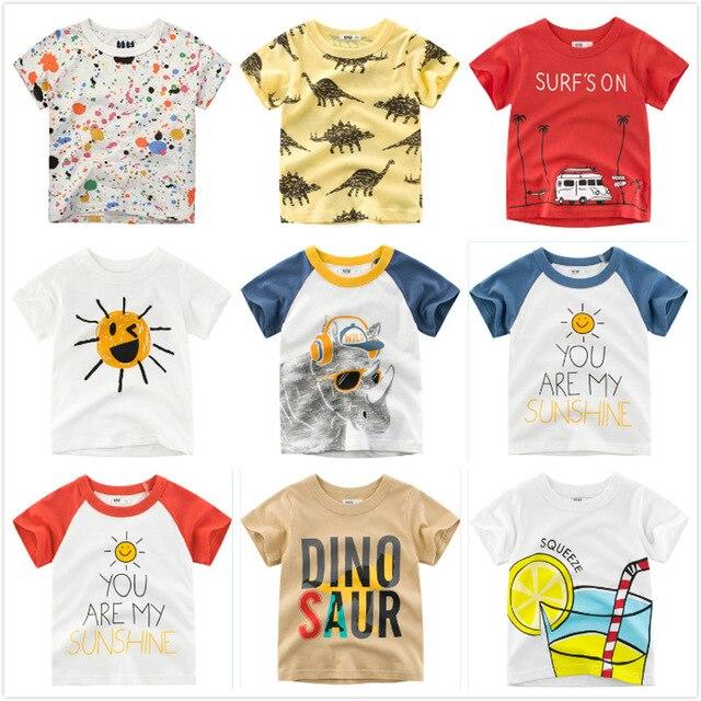 קריקטורה גרפיטי בני חולצה 2019 קיץ תינוק בגדי קצר שרוולים כותנה צמרות ילדים חולצות טריקו ילד בגדי ילדים 2-7Y