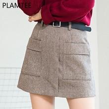 PLAMTEE High Waist A-Line Skirt 2017 New Autumn Winter Vintage Warm Female Woolen Skirts Solid Pockets Short Saia Feminina S~XL