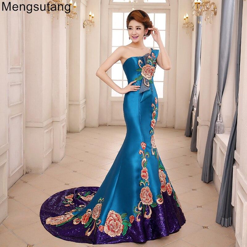 Robe de soirée 2019 vintga une épaule queue de poisson train avec broderie de qualité Vestidos de festa Robe de soirée robes de bal