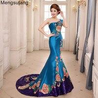 Robe de soiree 2018 vintga one shoulder fishtail train with quality embroidery Vestidos de festa evening dress prom dresses