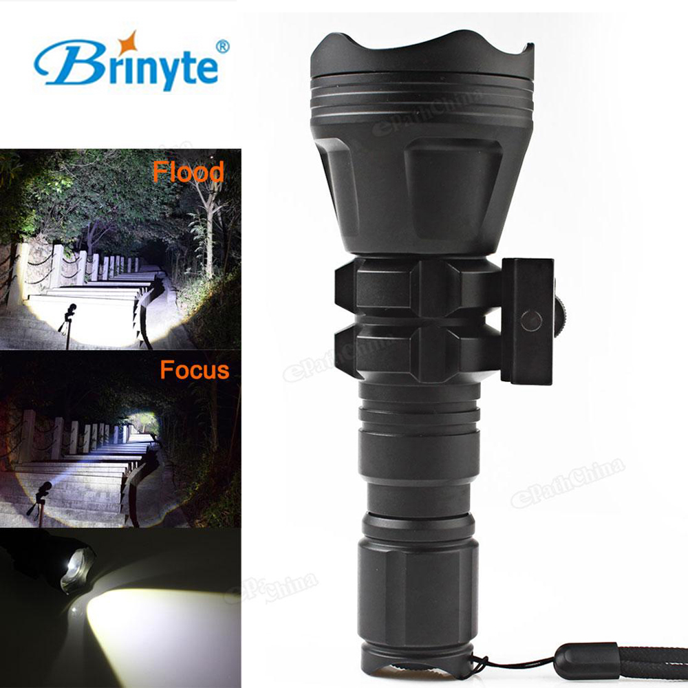 Brinyte B158 Convex Lens XM-L2 U4 LED Tactical Flashlight Torch Zoomable Aluminum 900Lm Outdoor Waterproof Hunting Flash Light 5200lm cree xm l t6 5modes led tactical flashlight torch waterproof hunting flash light lantern zaklamp taschenlampe torcia